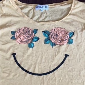 WILDFOX Oversized Floral Rose Smiley Top